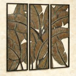 Wood Patio Furniture Clearance by Kaylani Tropical Leaf Metal Wall Art Panel Set