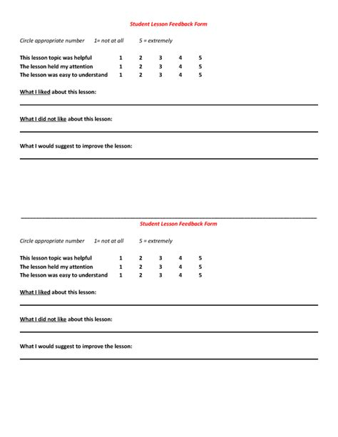 lesson feedback form template students post lesson feedback