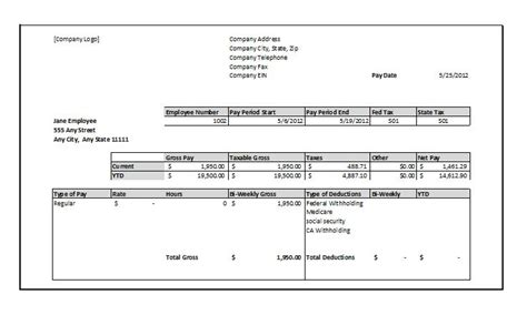 template 9 free pay stub templates word pdf excel format download
