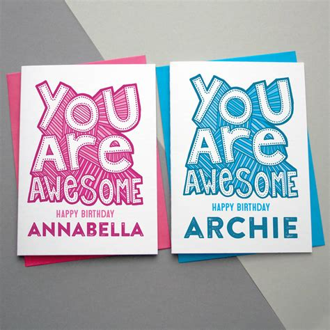 Awesome Birthday Card You Are Awesome Personalised Birthday Card By A Is For