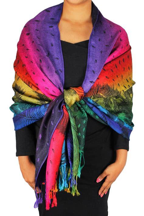 Pashmina Rainbow peacock rainbow pashmina wrap shawl scarf