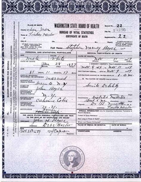 Birth Records Washington State San Juan Island Boyce Families