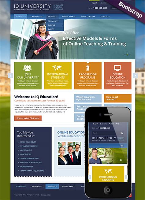 bootstrap templates for university iq university bootstrap template id 300111722 from