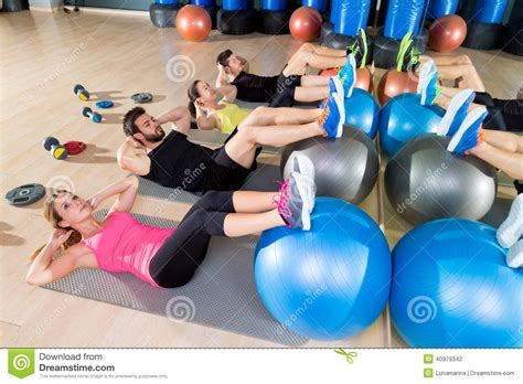 fitball crunch training group core fitness  gym stock