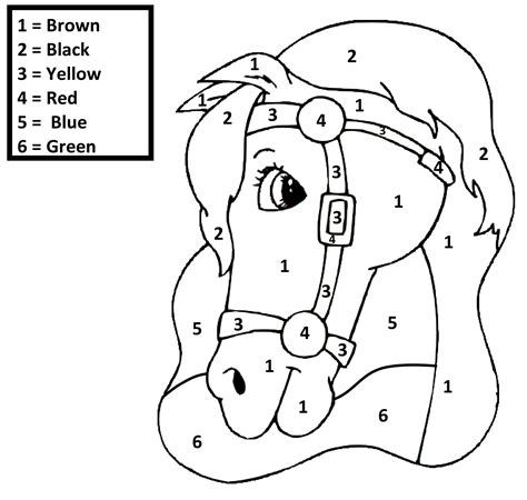 horse coloring pages by numbers color by number children s best activities
