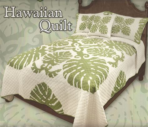 hawaiian quilted bed spreadtropical leaves hawaiian
