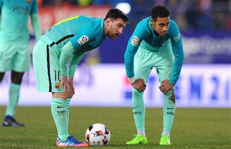 neymar leaves barcelona without its heir to lionel messi neymar goes past lionel messi with ease to score during