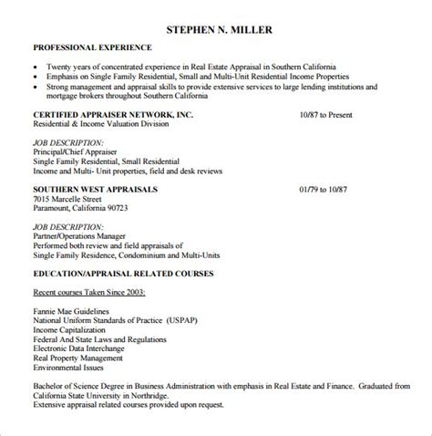 real estate resume templates free sle real estate resume 14 free documents