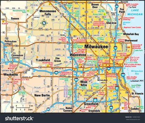Simple Search Milwaukee Wisconsin Milwaukee Wisconsin Area Map Stock Vector Illustration 149901923