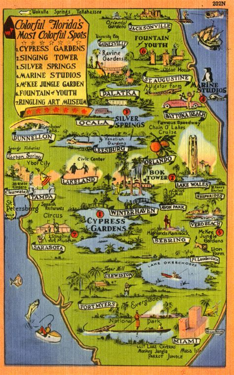 map of florida tourist attractions florida memory map of florida pointing out various
