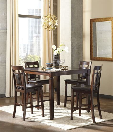 brown dining room set bennox brown 5 counter height dining room set d384