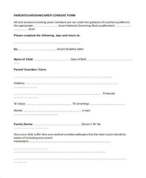 parental consent form template sle parental consent form 10 free documents in word pdf