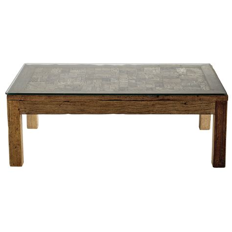tempered glass coffee table recycled wood and tempered glass coffee table w 120cm batik maisons du monde