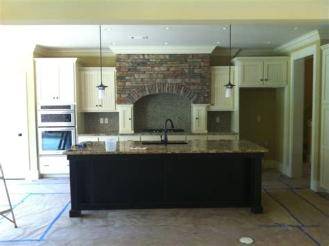 white stained kitchen cabinets white painted w beaded board doors and dark stained