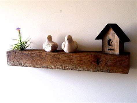 reclaimed barn wood solid oak floating shelf air plant shelf