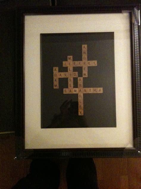 christmas gift grandchildren names  scrabble letters frame woodglue scrabble tiles