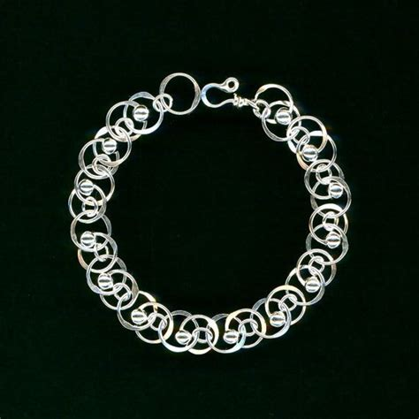 chain sterling silver beaded bracelet wire chainmaille
