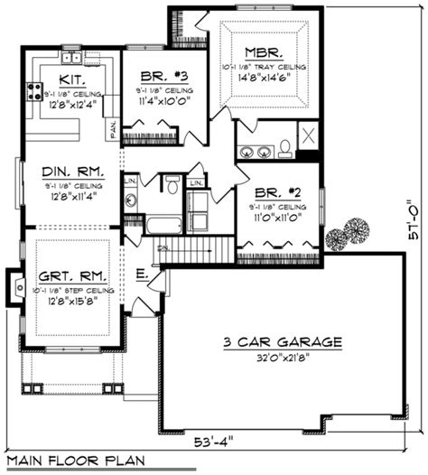 square feet of 3 car garage ranch style house plan 3 beds 2 baths 1500 sq ft plan