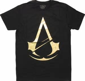 assassins creed gold foil logo shirt sheer