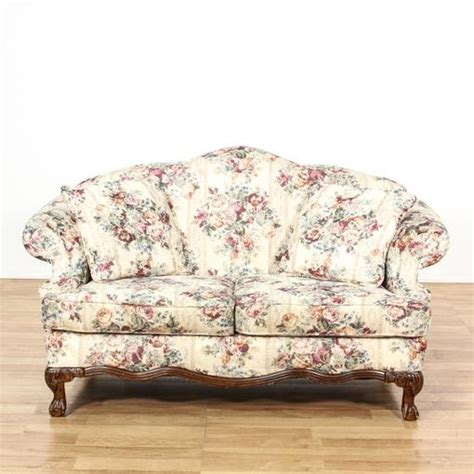 floral loveseat curved back white floral loveseat sofa loveseat vintage
