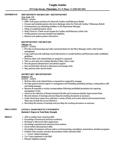 sle cv for receptionist secretary secretary receptionist sle resume historical essays of