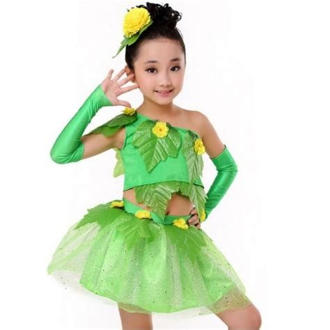 Yellow Shoulder Kid Ij Dresses Green Leaves Yellow Flower Patchwork