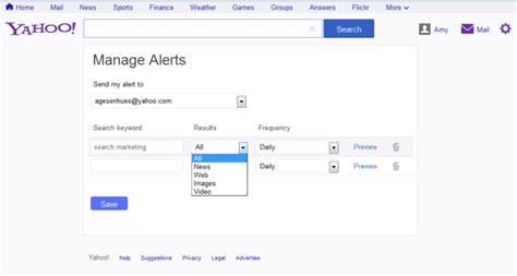 Yahoo Email Search Engine Yahoo Rolls Out Search Alerts For Web Search Images