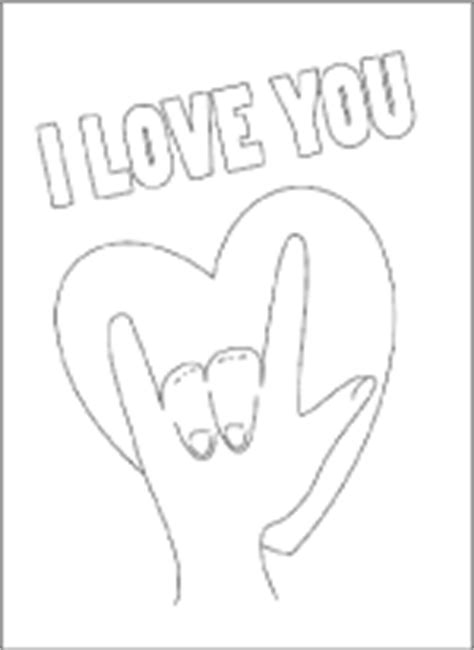 sign language i love you coloring pages printable valentine coloring cards