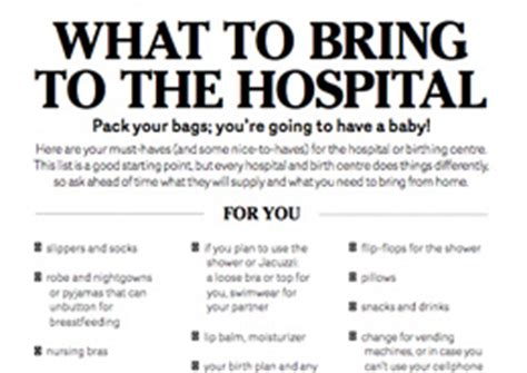 What To Bring To The Hospital Checklist Visit Us At Http