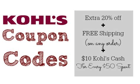 Can You Use Kohl S Cash To Buy Gift Cards - kohl s coupon code extra 20 off kohl s cash free shipping southern savers