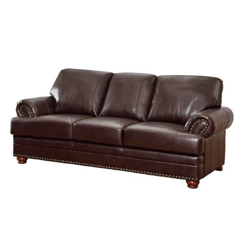 Brown Bonded Leather Sofa Shop Coaster Furniture Colton Brown Bonded Leather Stationary Sofa At Lowes
