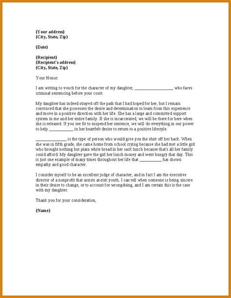template letter to judge letter of character for judge letter format template