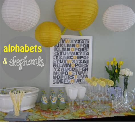 Grey And Yellow Baby Shower by Alphabets And Elephants Baby Shower