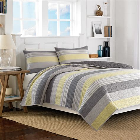 Grey And Yellow Bedding Set Mondrian Gray Quilt Stripes Bedding Beddingstyle Bedroom Yellow New Bedding