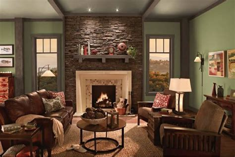 olive green paint with accent wall recessed fireplace lifts the deeper colours