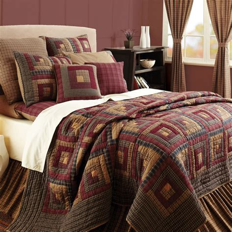 oversized king size comforter burgundy lodge log cabin block oversized twin queen cal