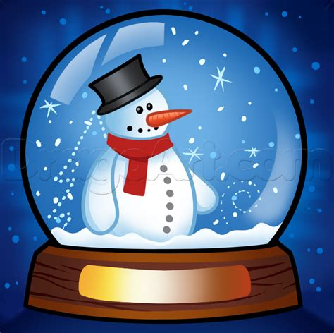 how to draw a snow globe step by step christmas stuff