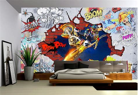 Sticker Dinding 3d 3d Wall Sticker Dekorasi Dinding custom photo 3d wallpaper non woven mural wall sticker cool motorcycle graffiti painting picture