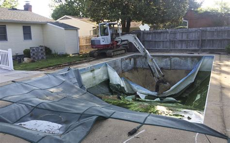 removing a pool from backyard vinyl liner pool removal in arnold maryland carroll