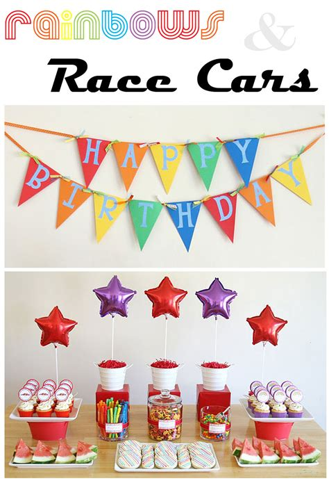 party themes easy party themes rainbows and race cars thoughtfully simple