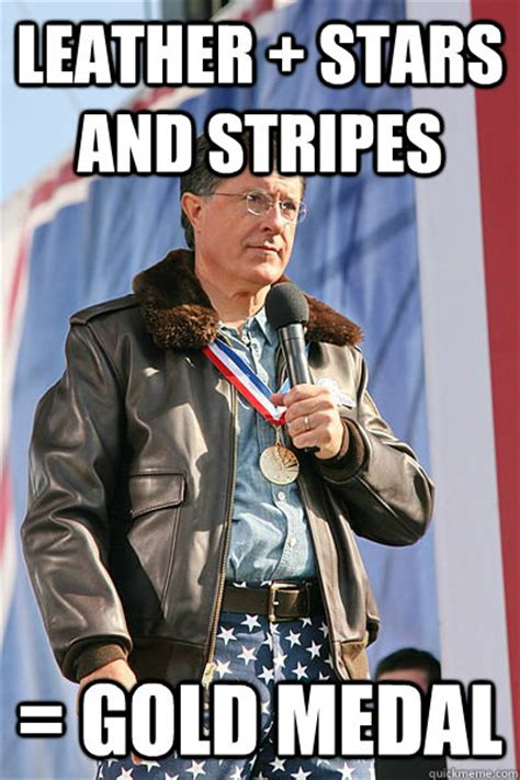 Medal Meme - leather stars and stripes gold medal faggot colbert