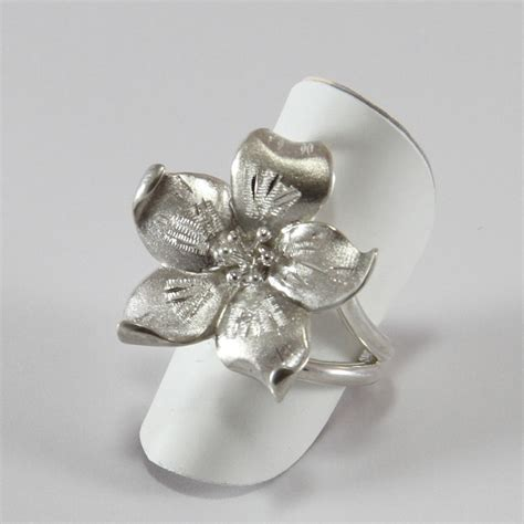 fiore in anello a fiore in argento 925 1000