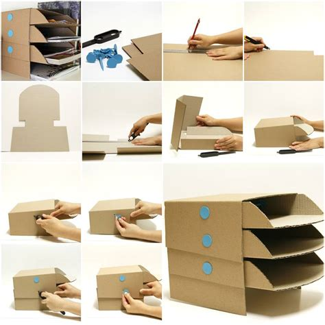 diy storage how to make cardboard office desktop storage trays step by