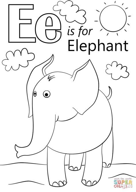 coloring pages with letter e letter e is for elephant coloring page free printable