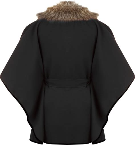 Plain Collared Coat womens fur collar plain buttoned belted cape coat