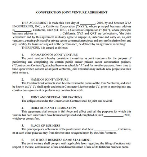 joint venture agreement template sle joint venture agreement 10 documents in pdf word
