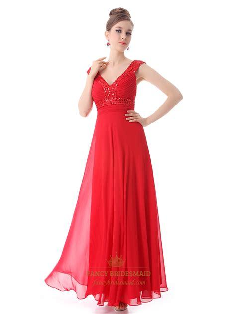red chiffon  neck   prom dress  beaded neckline