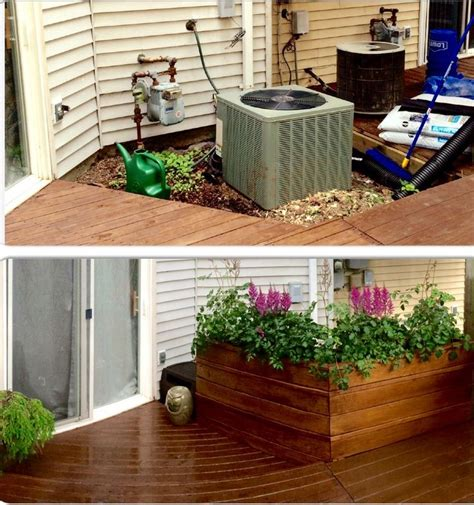 build a unit in backyard ac unit cover up with large planter stained with walnut
