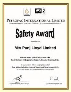 safety certificate template safety certificates punjlloyd