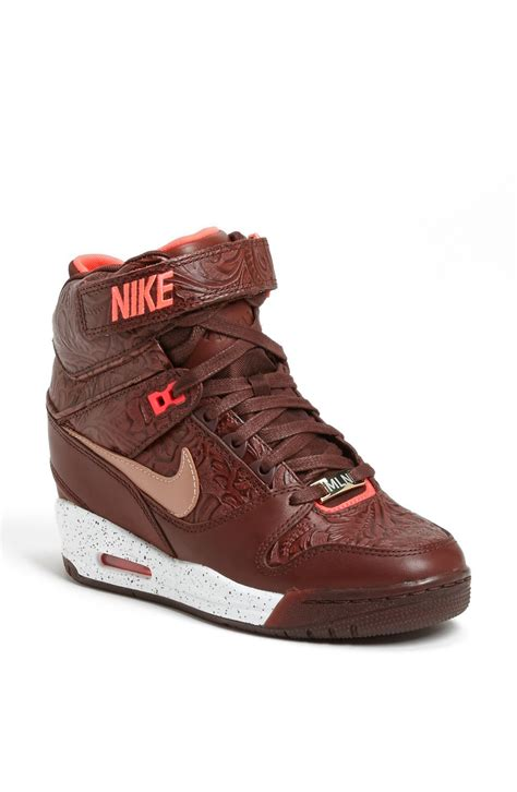 wedge nike sneakers nike air revolution sky hi wedge sneaker in brown